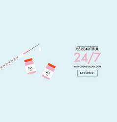 Facial injections promotion banner face fillers vector