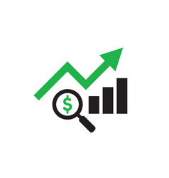 Finance exchange graphic growth up and magnifier vector
