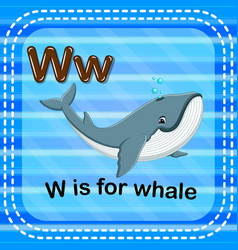 Flashcard letter w is for whale vector