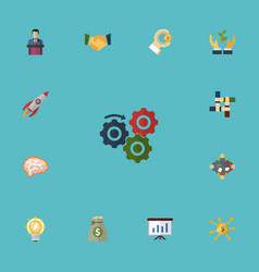 flat icons coin bulb support and other vector image