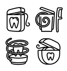 Floss icons set outline style vector
