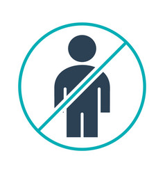 Forbidden sign with a user profile colored icon vector