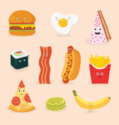 funny food cartoon characters isolated vector image