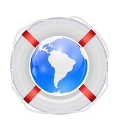 Globe in Lifebuoy vector image