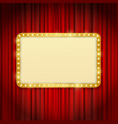 golden frame with light bulbs vector image