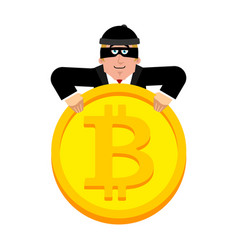 hacker and bitcoin thief and crypto currency vector image
