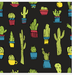 hand drawn seamless pattern with different vector image