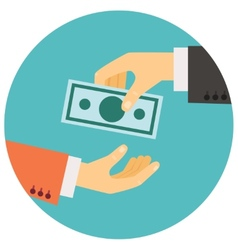 Hand giving money vector