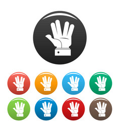 hand hello icons set color vector image