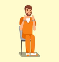 handcuffed prisoner inmate flat vector image