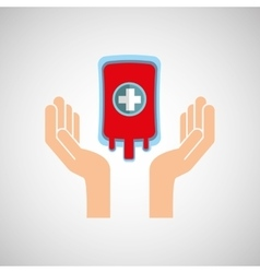 Hands with bag blood donation medicine icon vector