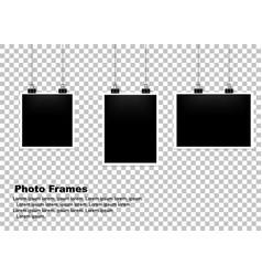 hanging photo frame set isolated background vector image