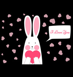 happy rabbit - valentene s day vector image