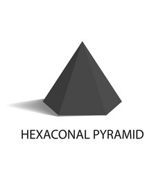 hexaconal pyramid geometric shape in black color vector image