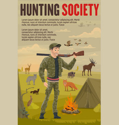 hunter hunting rifle gun duck and deer vector image