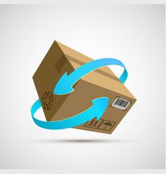 icon cardboard box with arrows vector image