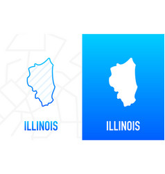 Illinois - us state contour line in white vector