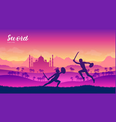 india warriors with sword martial arts of vector image
