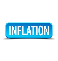 Inflation blue 3d realistic square isolated button vector image