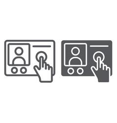 Intercom telephone line and glyph icon vector