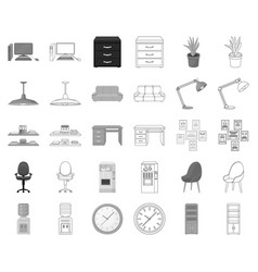 interior of the workplace monochromeoutline icons vector image