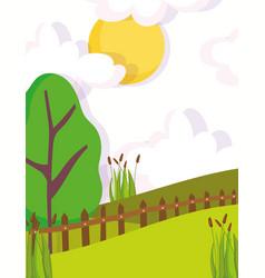 landscape nature tree clouds sun fences plants vector image