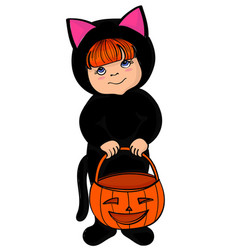 Little girl in black cat costume vector