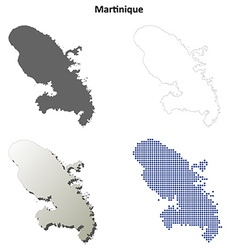 Martinique outline map set vector
