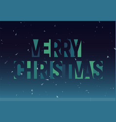 merry christmass geometric cutout letters banner vector image