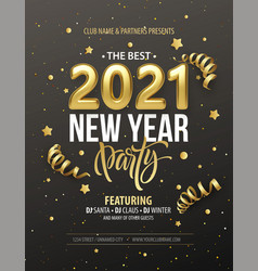 new year party typography poster with 2021 gold vector image