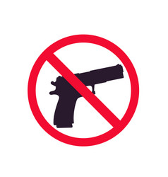 No guns sign with pistol silhouette no shooting vector