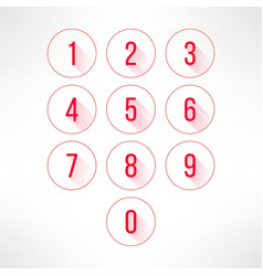 Numbers in circles set in modern flat design vector image