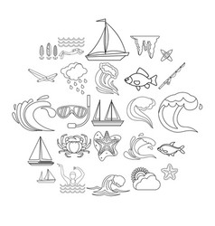 Overwater icons set outline style vector