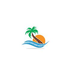 palm tree beach movie film logo vector image