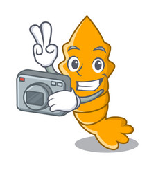 Photographer cooked shrimps isolated on mascot vector