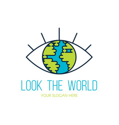 planet earth eye flat logo design vector image