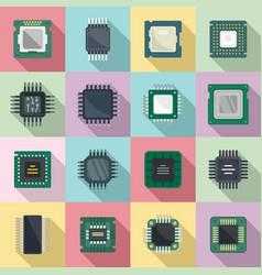 Processor icons set flat central computer vector
