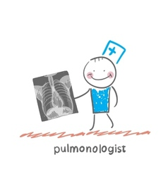 Pulmonologist with an x-ray of human lung vector