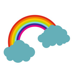 Rainbow and clouds icon isolated vector