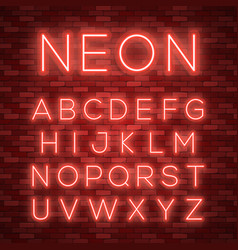 Realistic neon alphabet bright neon glowing font vector