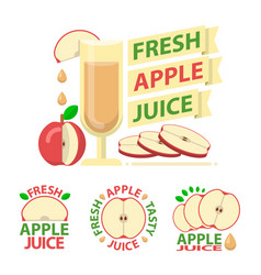Red apple juice badge emblems vector