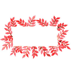 Red fern on rectangle frame watercolor frame vector