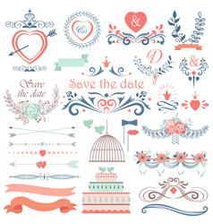 romantic hand drawn wedding graphic set of vector image