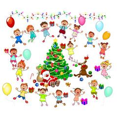 santa and joyful children vector image