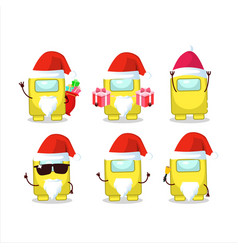 Santa claus emoticons with among us yellow vector