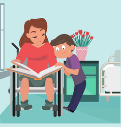School boy caring about his mother in wheelchair vector