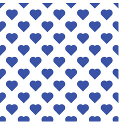 Seamless pattern of big blue hearts on white vector