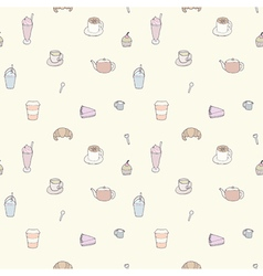 Seamless pattern of Coffee shop objects vector