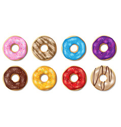 Set colorful glazed donuts isolated on white vector