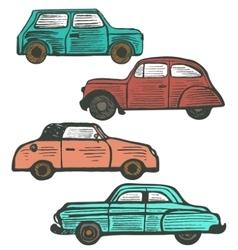 Set of cute hand-drawn retro cars vector